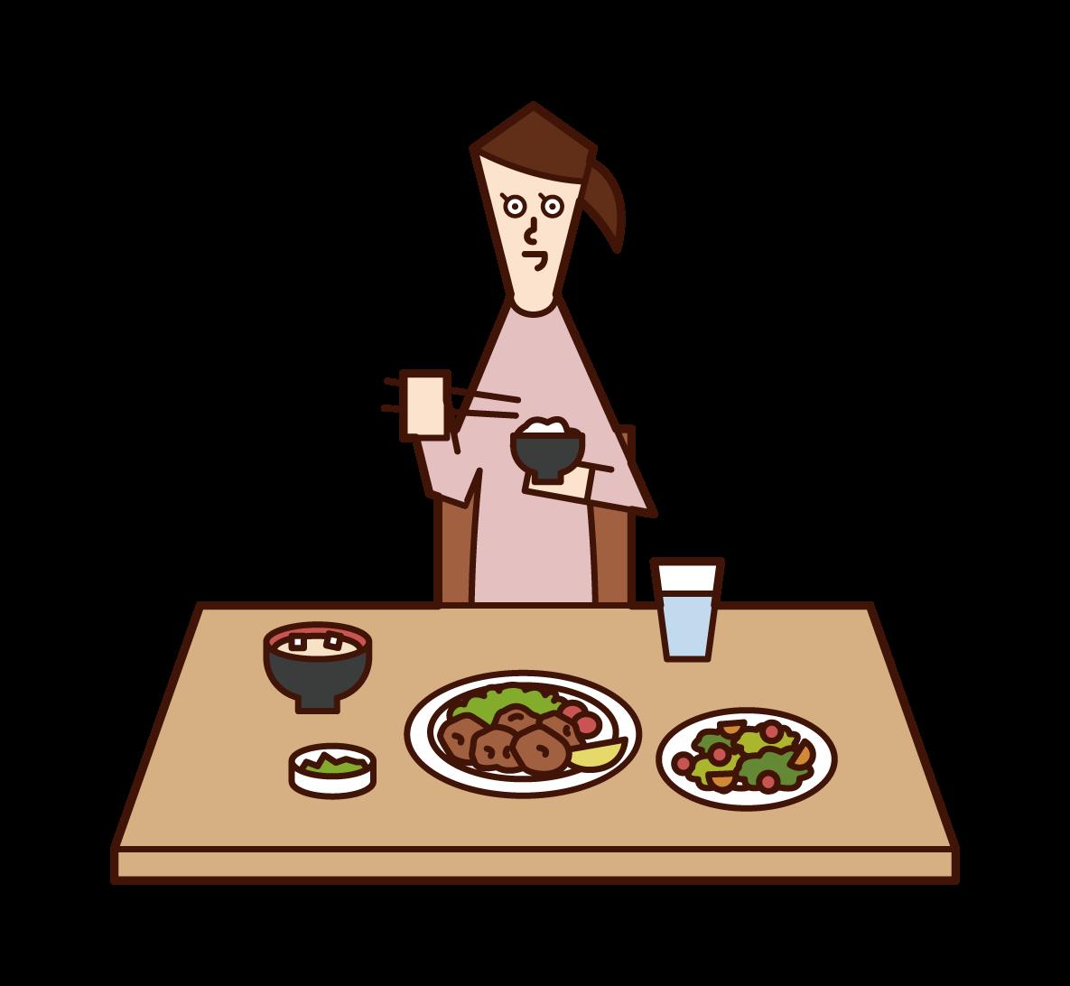 食事をする人(女性)のイラスト