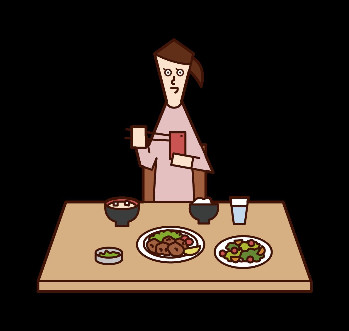 食事中にスマートフォンを使用する人(女性)のイラスト