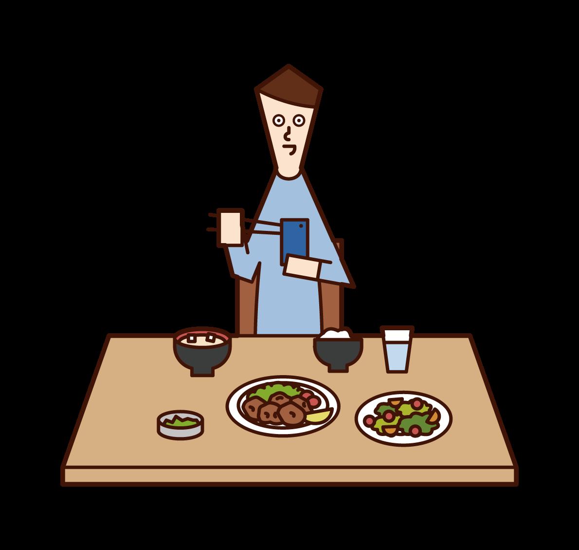 食事中にスマートフォンを使用する人(男性)のイラスト