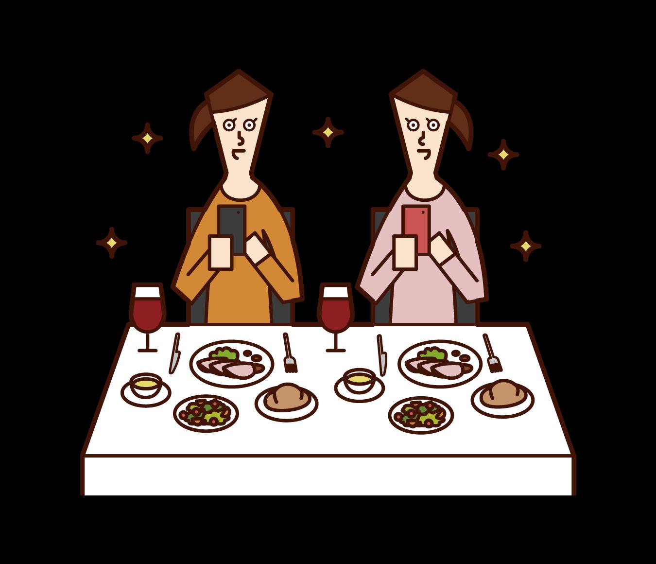 レストランで料理の写真を撮影する人たち(女性)のイラスト