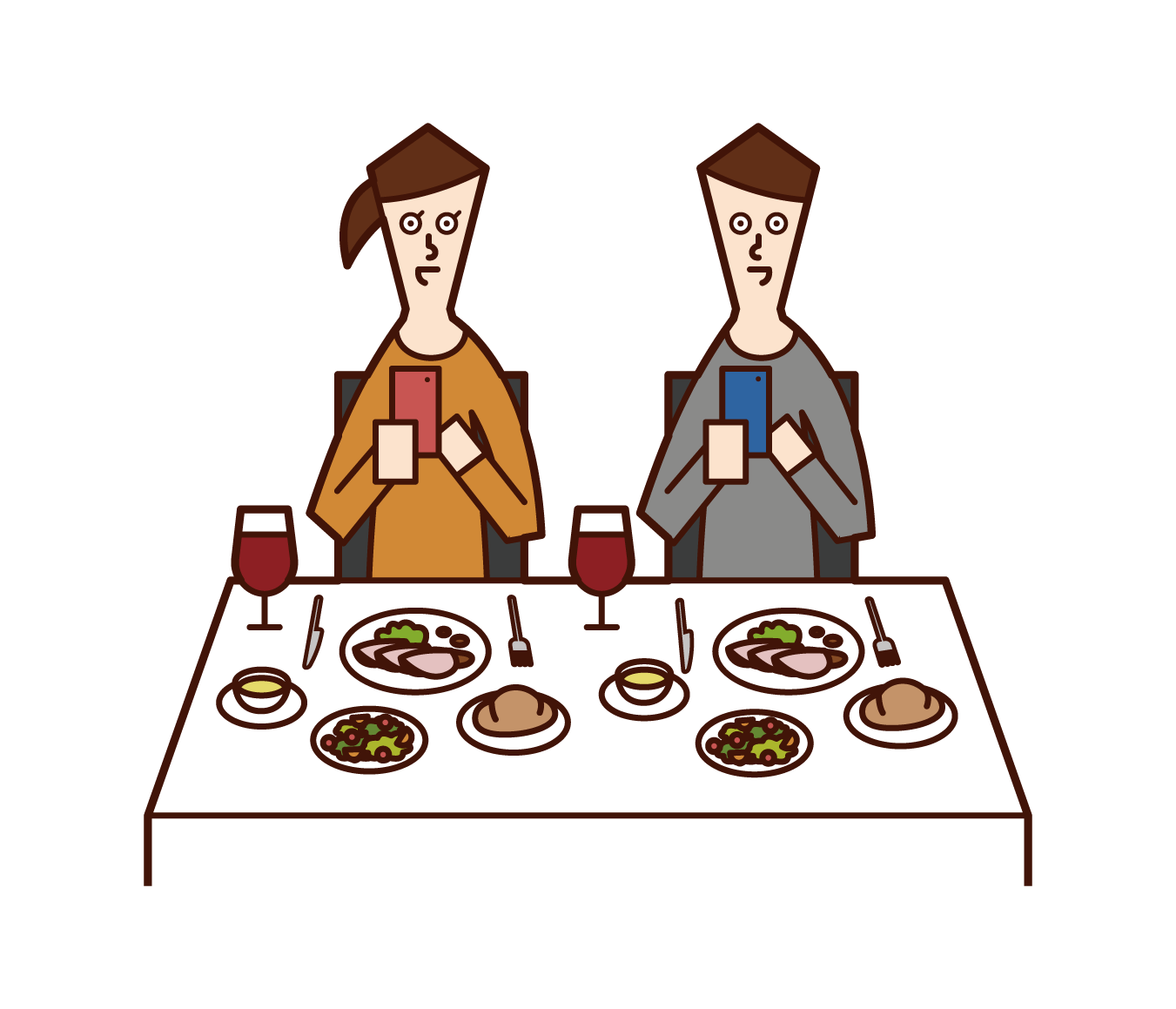 Illustrations of people (men and women) taking pictures of food at restaurants