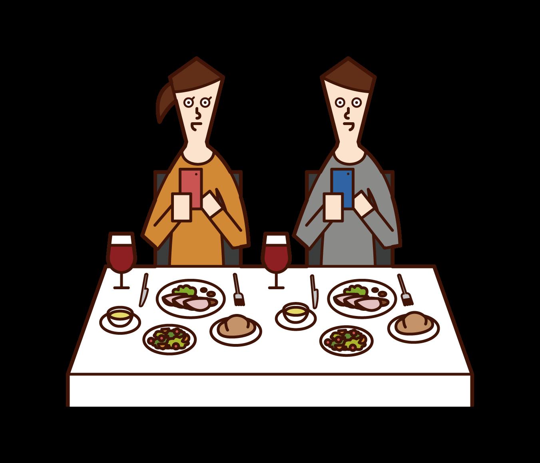 レストランで料理の写真を撮影する人たち(男女)のイラスト