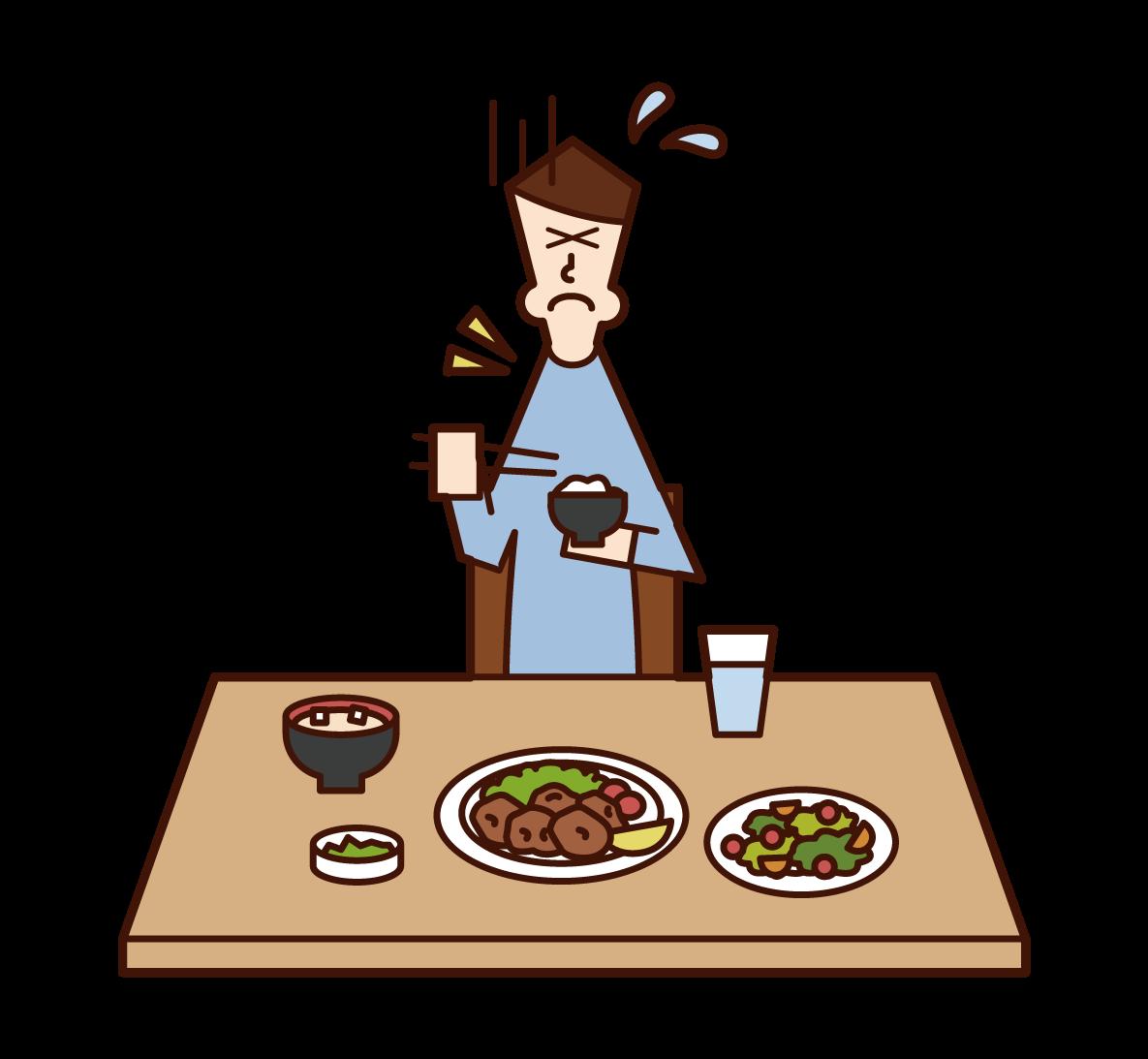 食べ物を喉に詰まらせた人(男性)のイラスト
