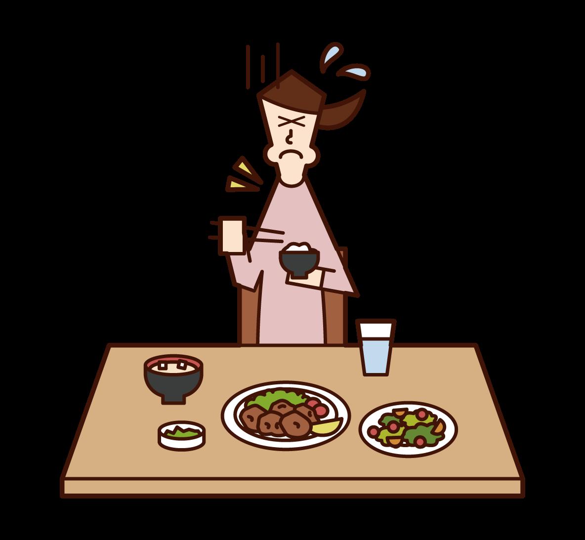 食べ物を喉に詰まらせた人(女性)のイラスト