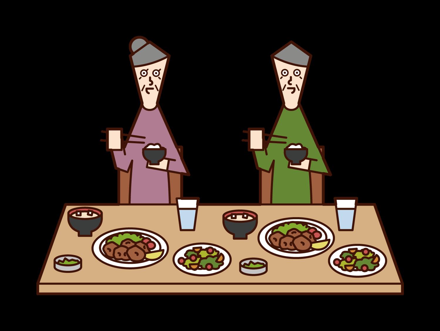 식사를 즐기는 노인 (남자와 여자)의 일러스트