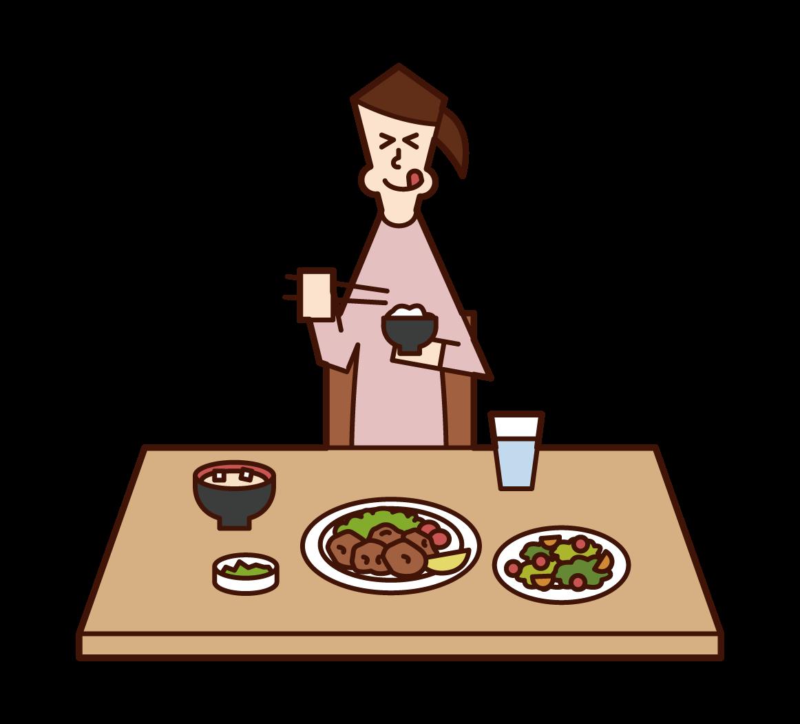 美味しそうに食事をする人(女性)のイラスト