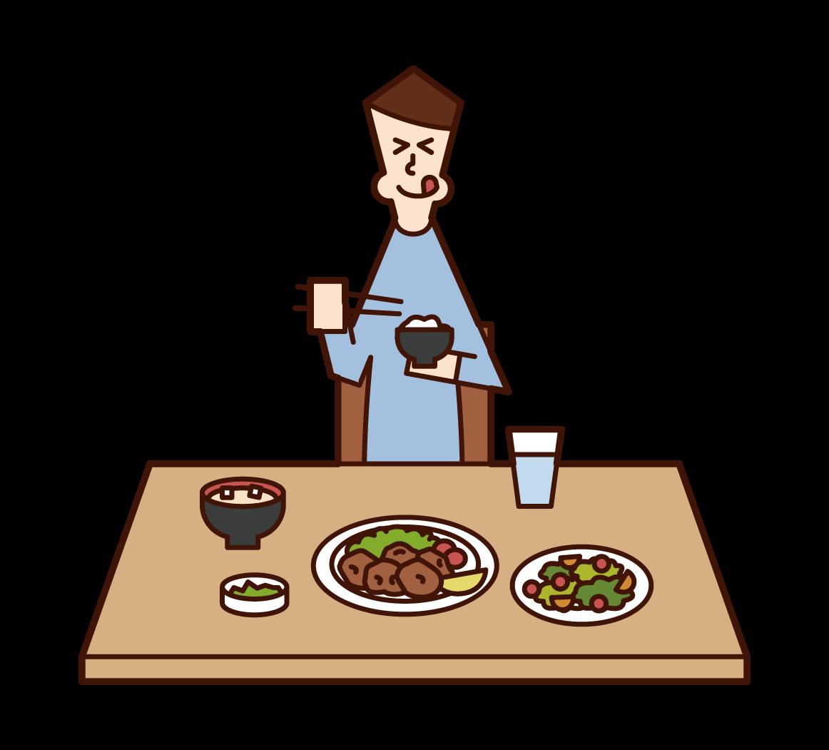 美味しそうに食事をする人(男性)のイラスト