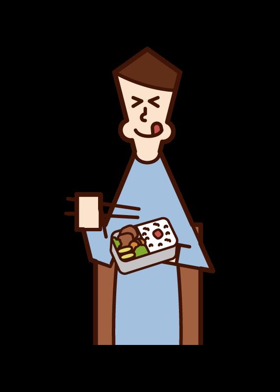 美味しそうに弁当を食べる人(男性)のイラスト