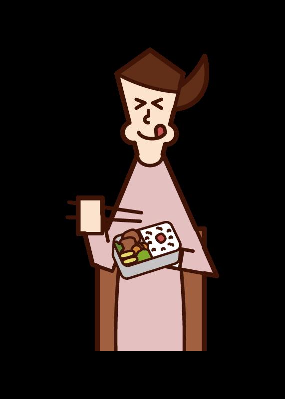 美味しそうに弁当を食べる人(女性)のイラスト