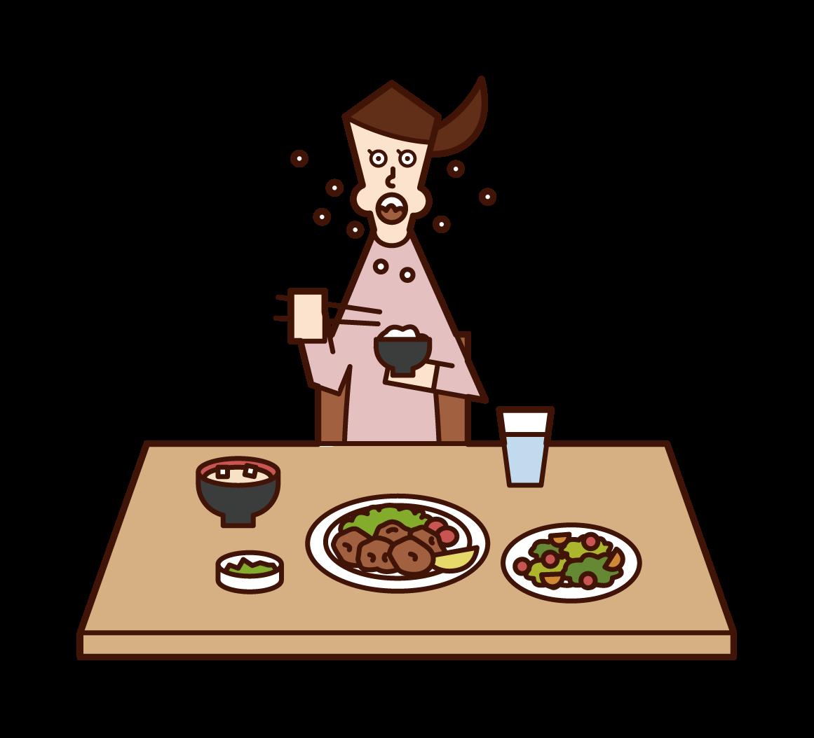急いで食事をする人(女性)のイラスト