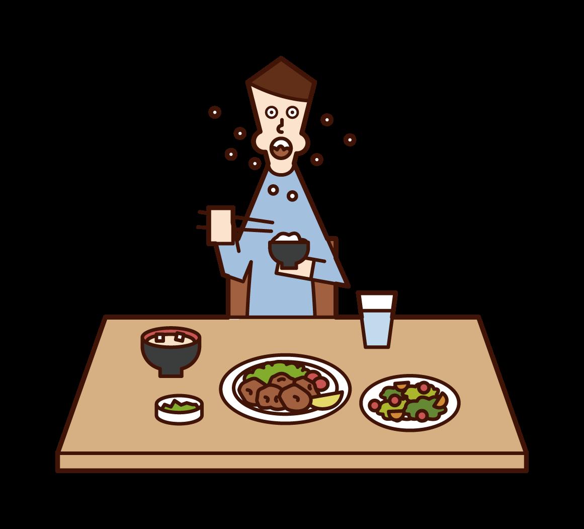 急いで食事をする人(男性)のイラスト