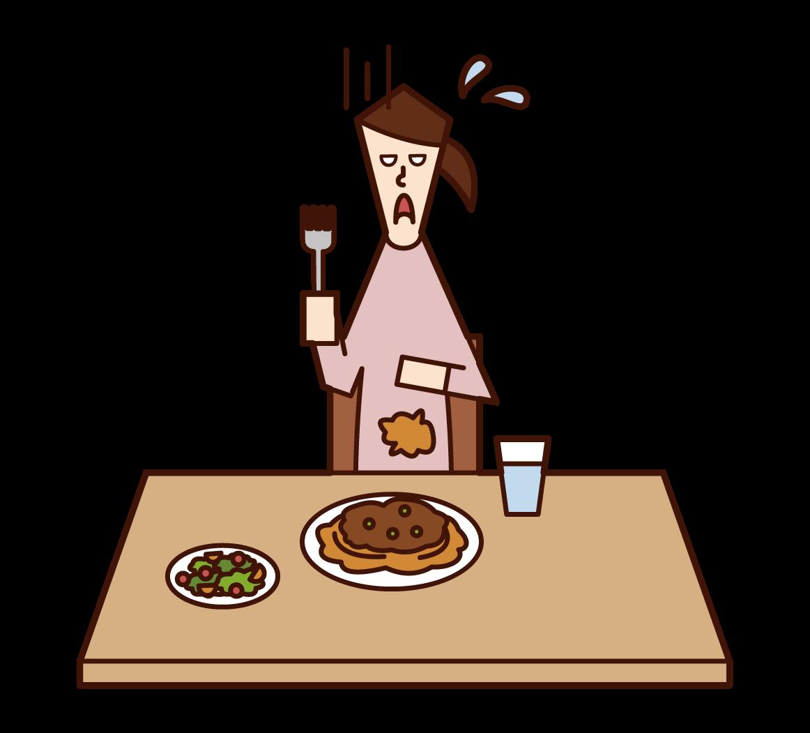 음식을 쏟아내고 옷을 더럽힌 여성의 일러스트