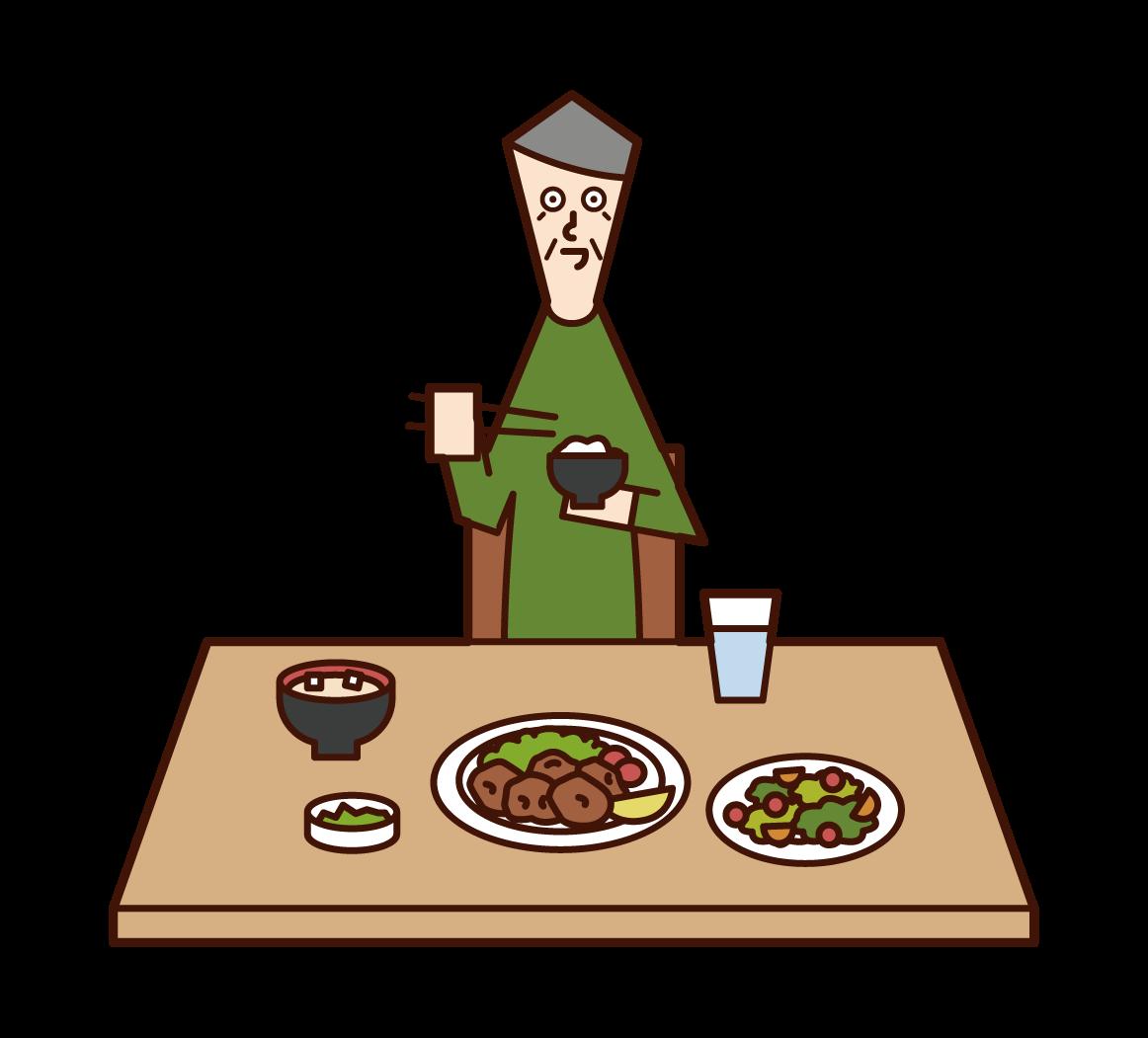 食事をする老人(男性)のイラスト