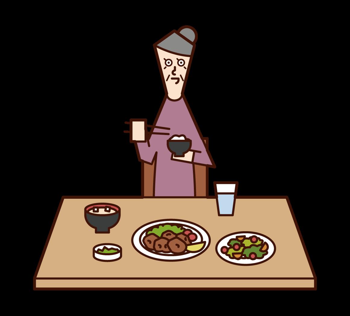 식사를 하는 노인(여자)의 일러스트