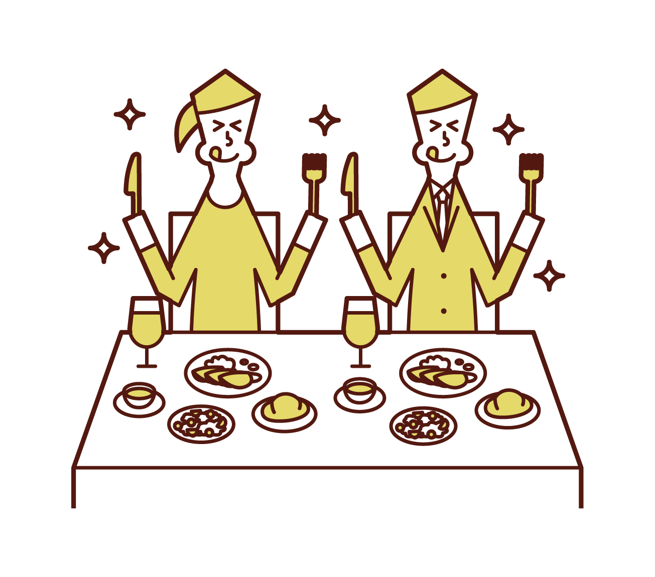 レストランで美味しそうに食事をするカップルのイラスト