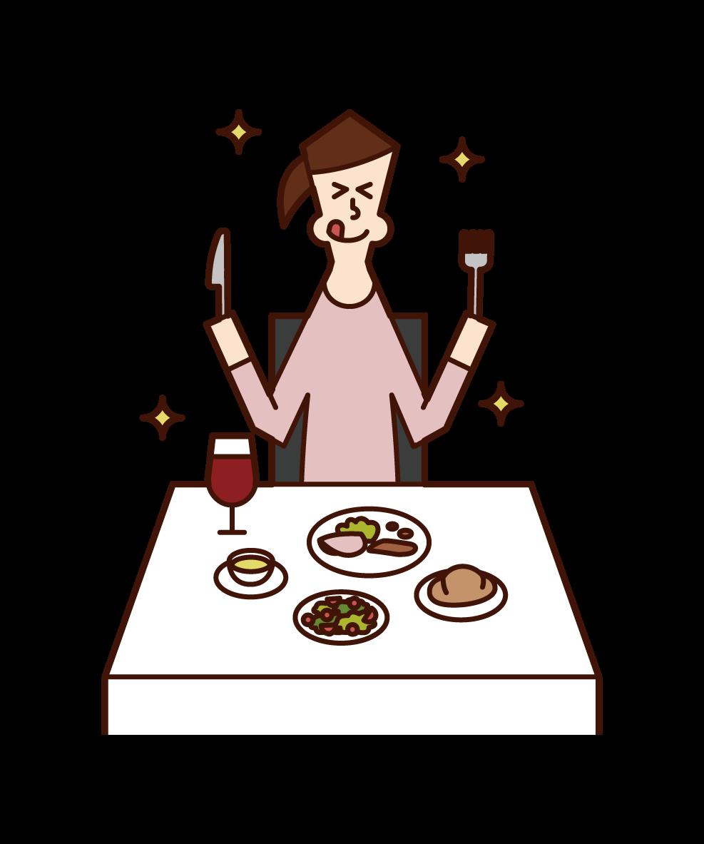 レストランで美味しそうに食事をする人(女性)のイラスト