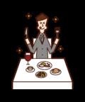 レストランで美味しそうに食事をする人(男性)のイラスト