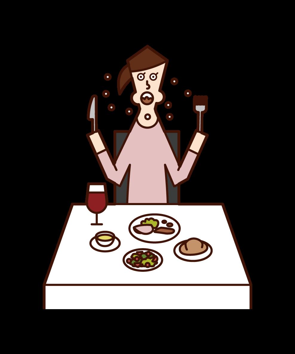 早食いをする人(女性)のイラスト