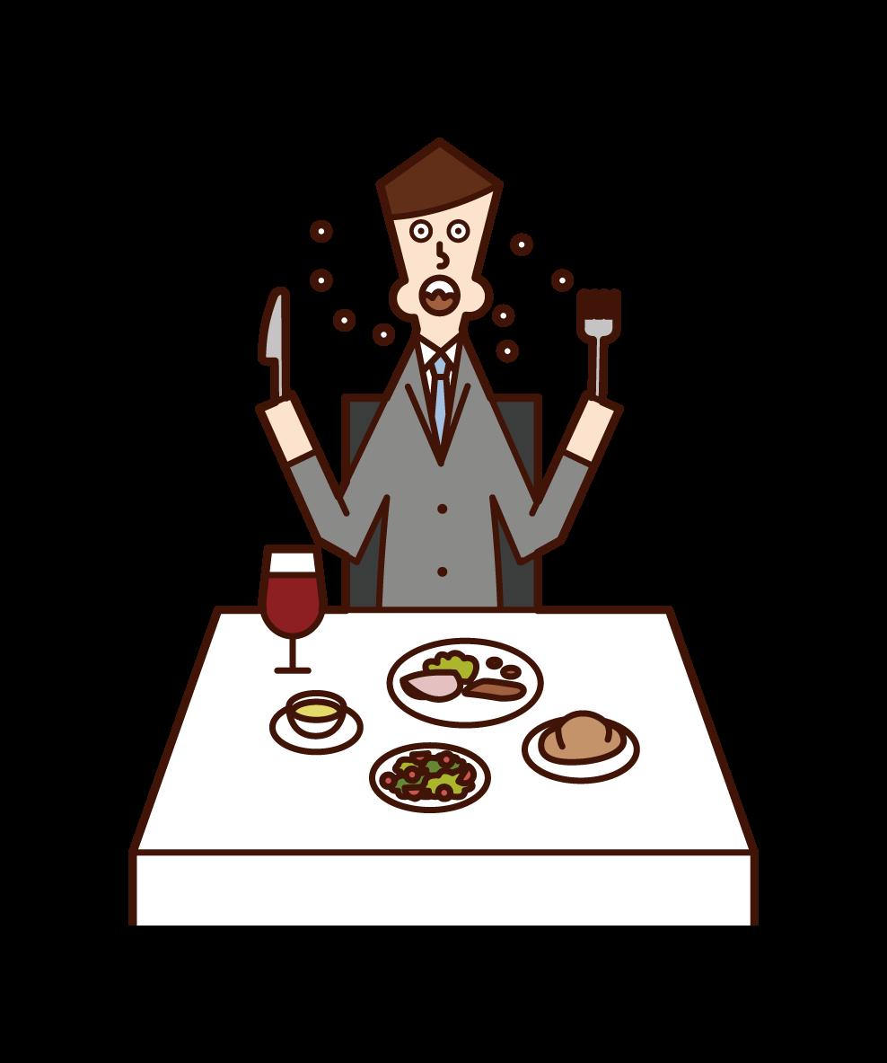 早食いをする人(男性)のイラスト