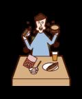 暴飲暴食・過食症(男性)のイラスト