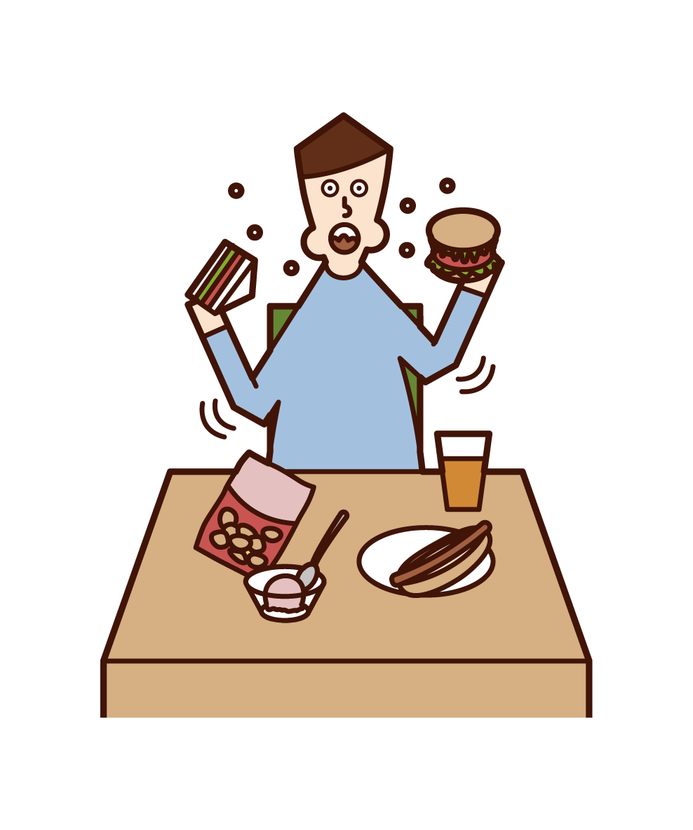 Illustration of eating and drinking and seismosis (man)
