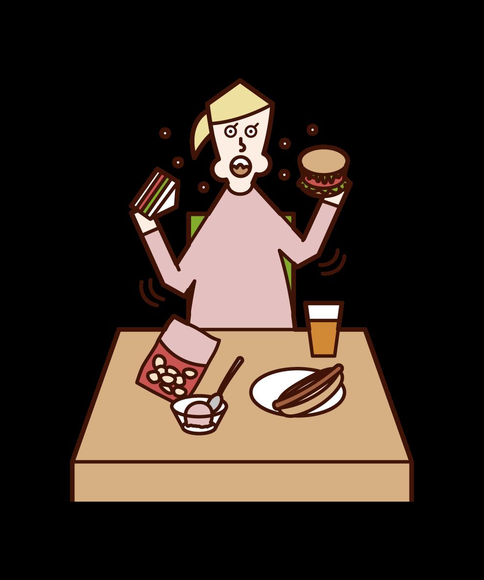 暴飲暴食・過食症(女性)のイラスト