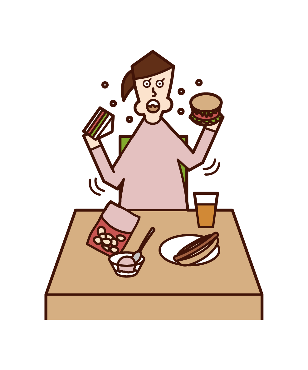 Illustration of eating and drinking and hyperecoaging (woman)
