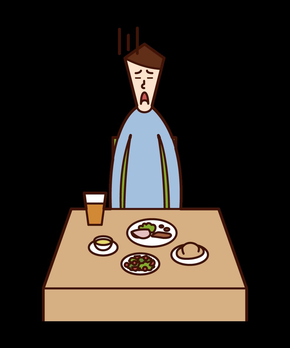 食欲のない人(男性)のイラスト