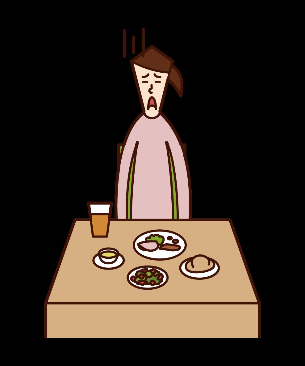 食欲のない人(女性)のイラスト
