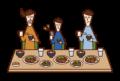 食事中にスマートフォンを使用する子供(男子)のイラスト