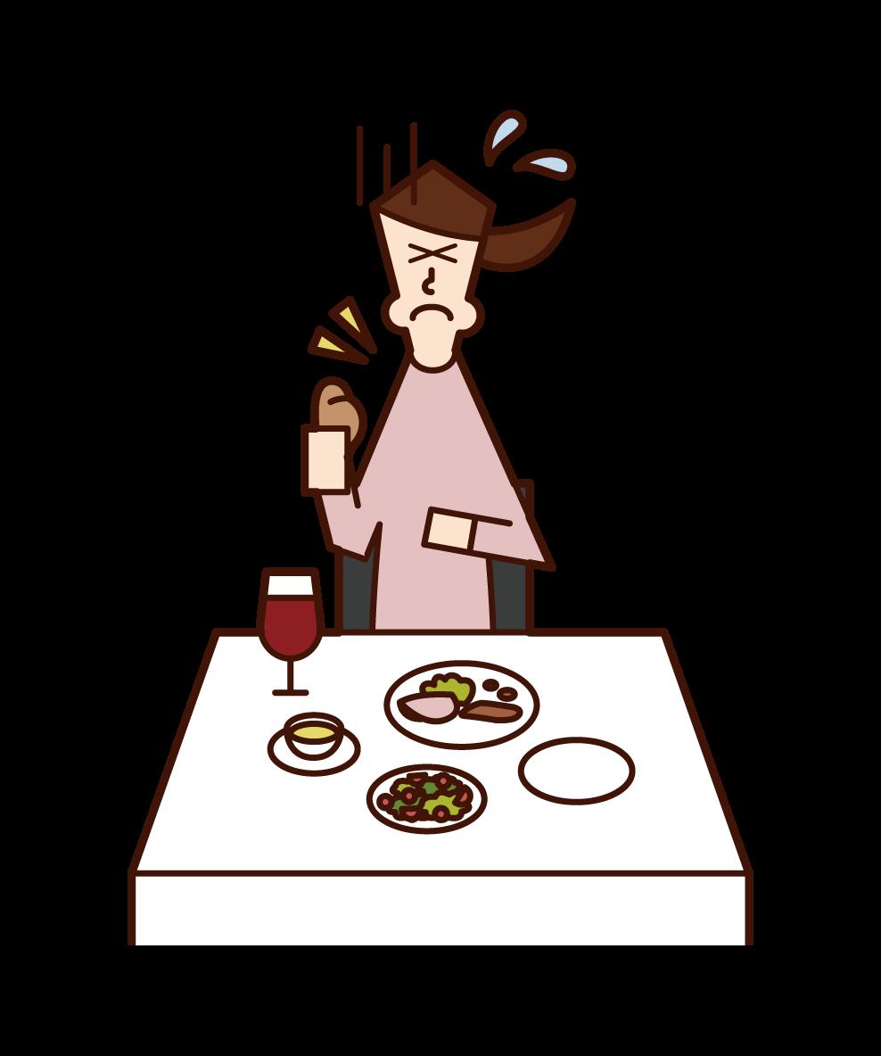 喉に食べ物を詰まらせた人(女性)のイラスト
