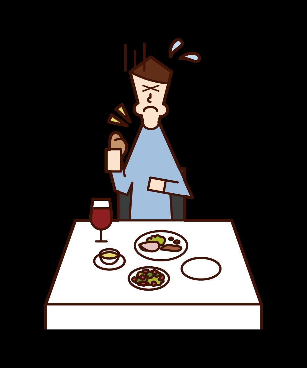 喉に食べ物を詰まらせた人(男性)のイラスト