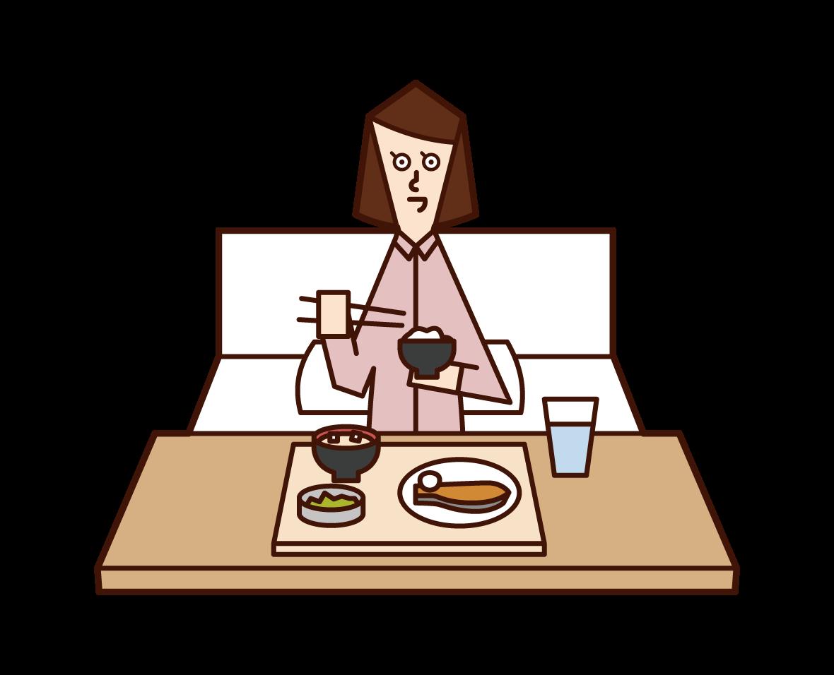 病院で食事をする人(女性)のイラスト