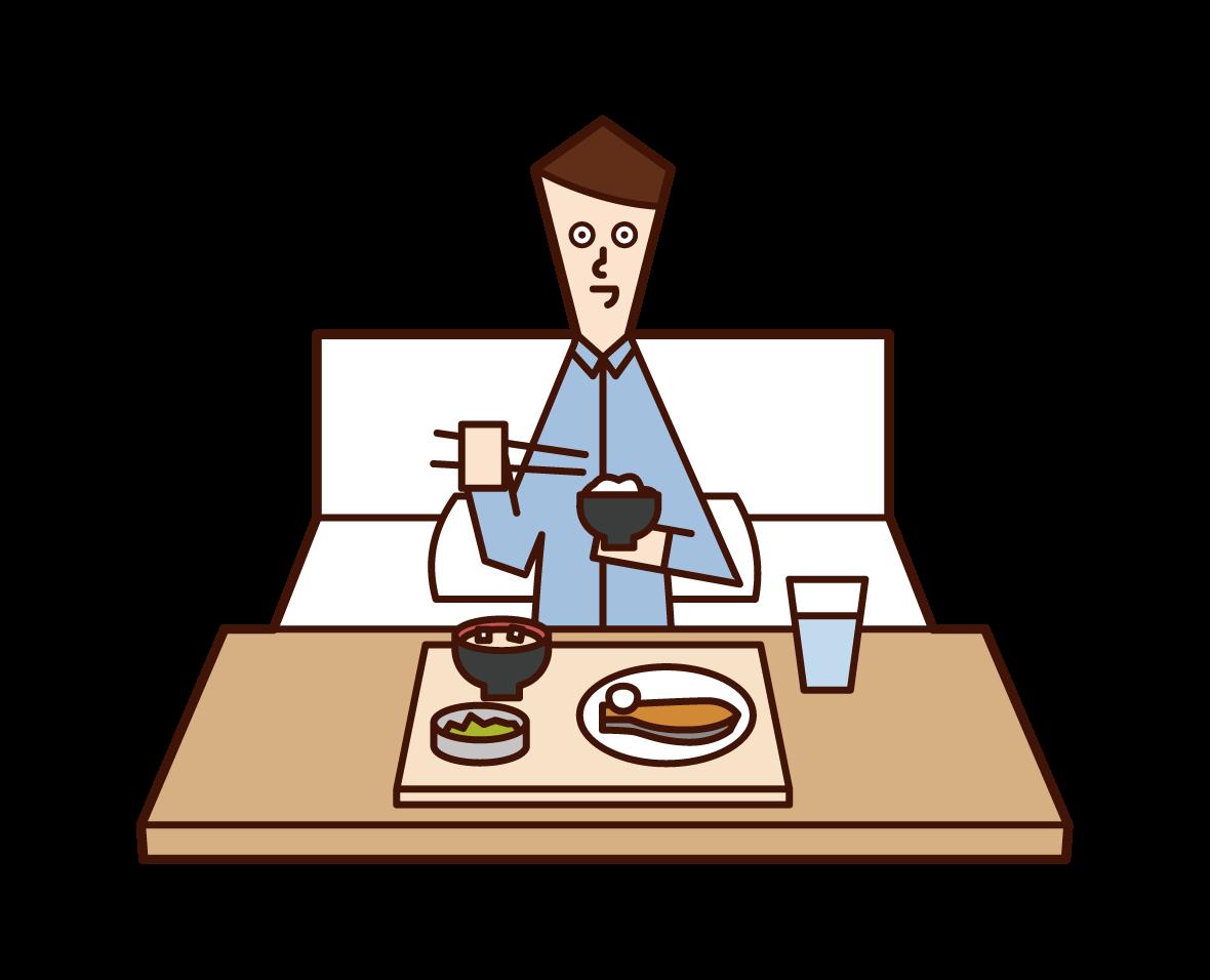 病院で食事をする人(男性)のイラスト