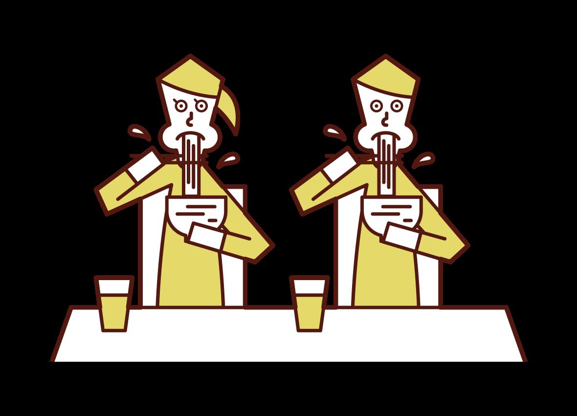 ラーメンを食べるカップルのイラスト
