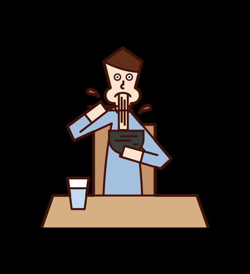 ラーメンを食べる人(男性)のイラスト