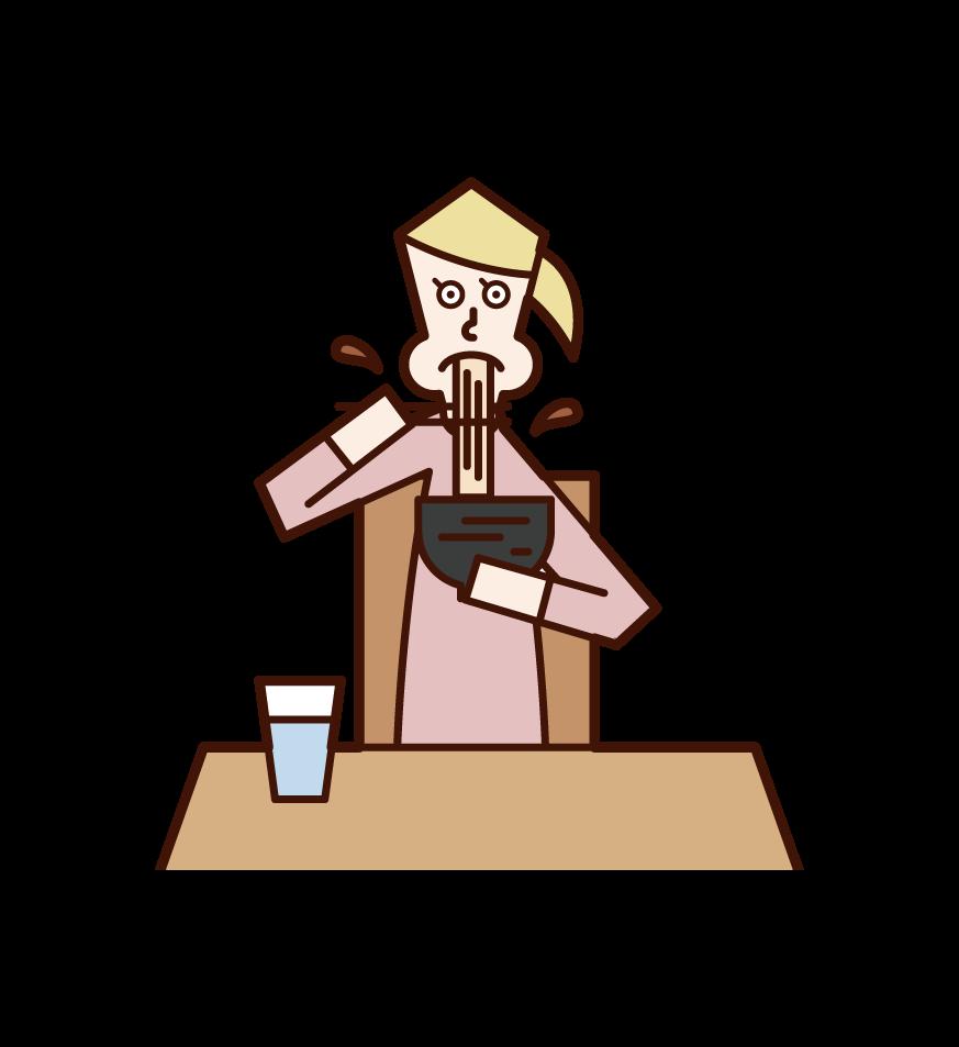 ラーメンを食べる人(女性)のイラスト