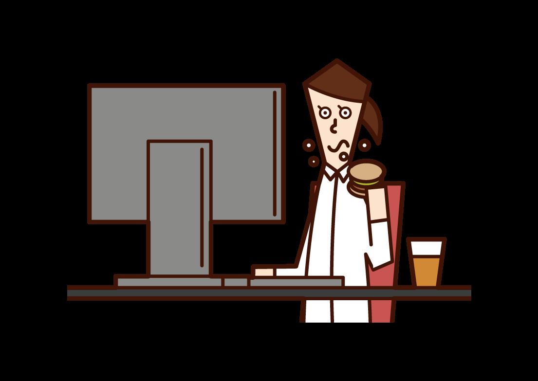 食事をしながら仕事をする人(女性)のイラスト