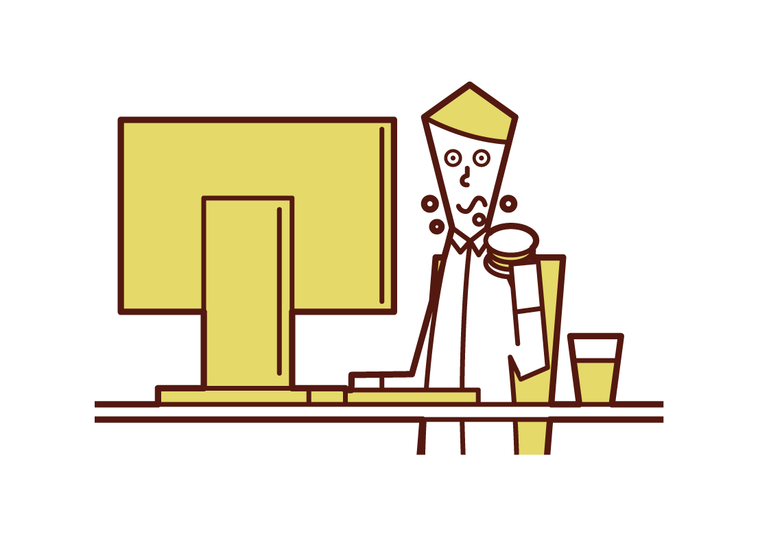 食事をしながら仕事をする人(男性)のイラスト