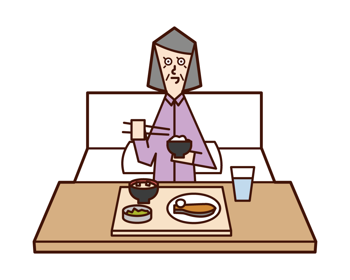 Illustration of an old man (woman) eating in a hospital