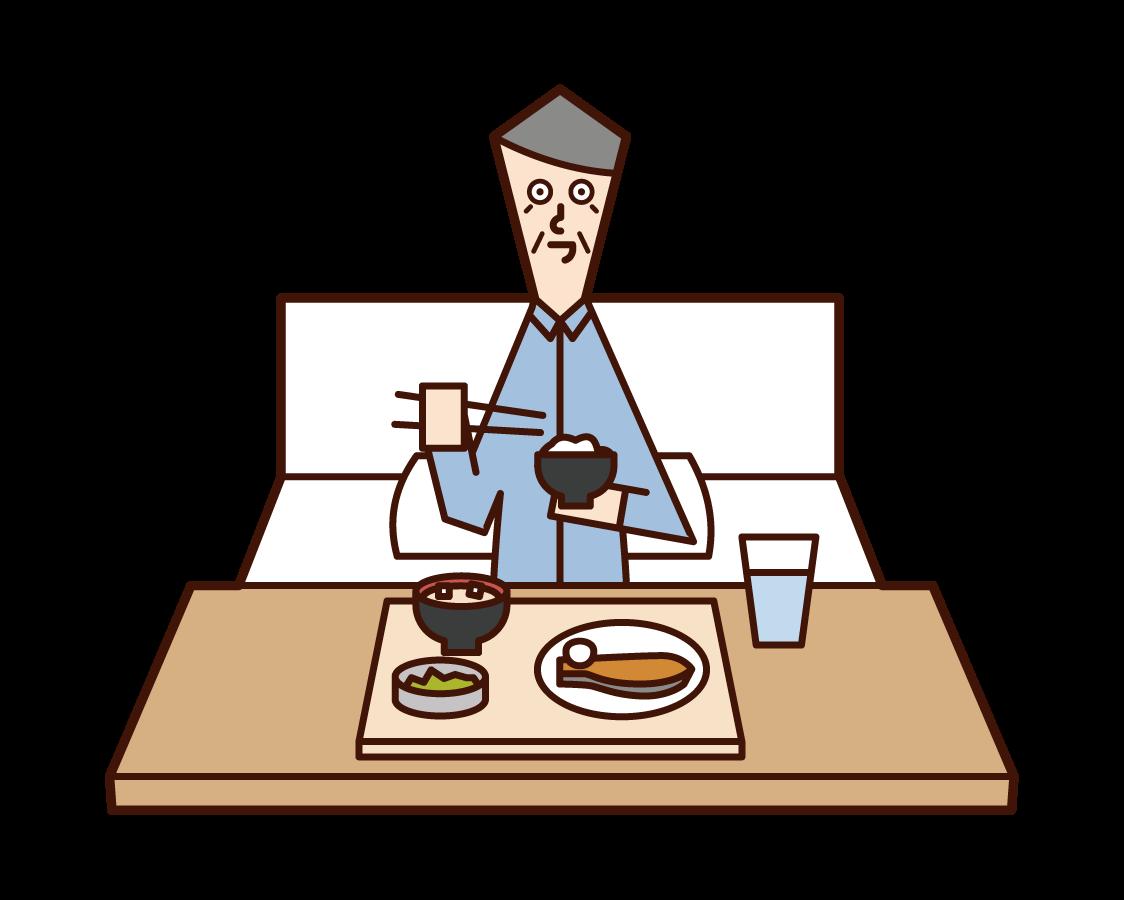 病院で食事をする老人(男性)のイラスト