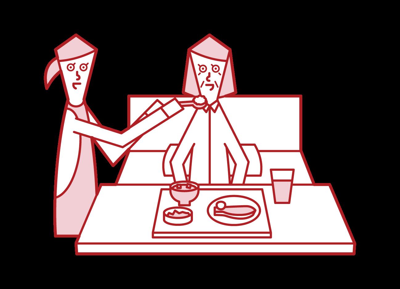 食事介助を受ける老人(女性)のイラスト