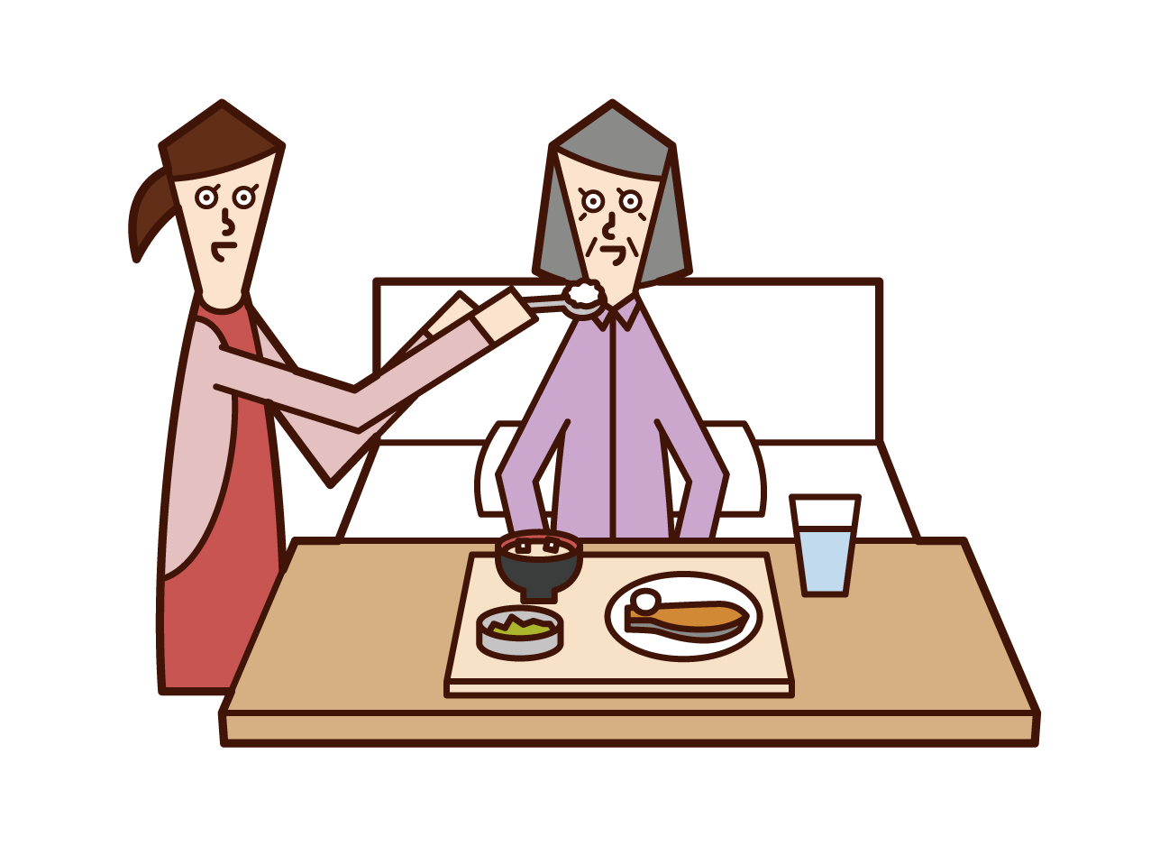 Illustration of an elderly person (woman) receiving meal assistance