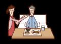 食事介助を受ける老人(男性)のイラスト