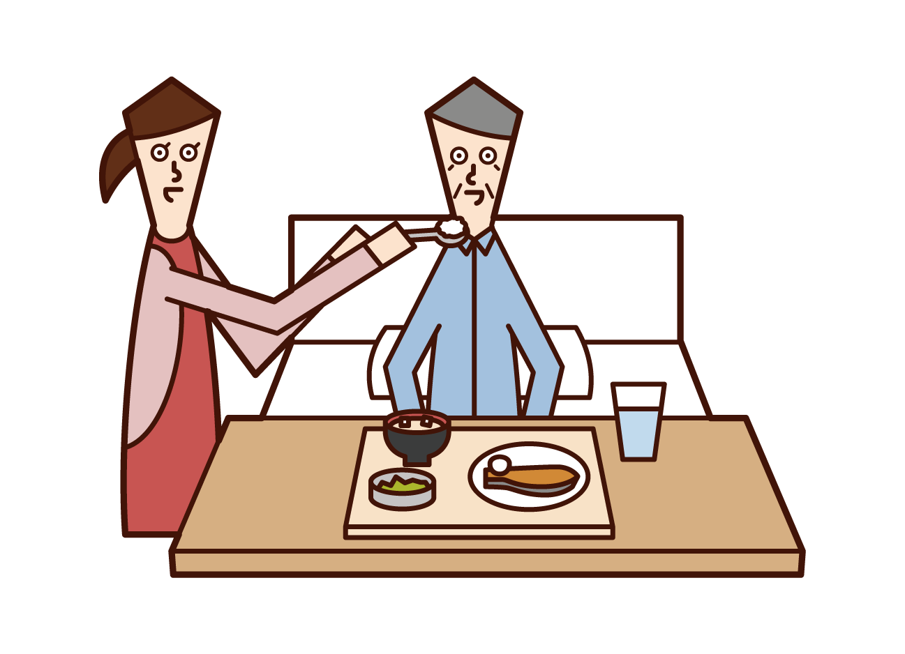 Illustration of an elderly man (man) receiving meal assistance