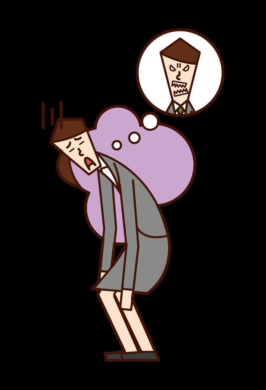 上司を嫌いな人(女性)のイラスト