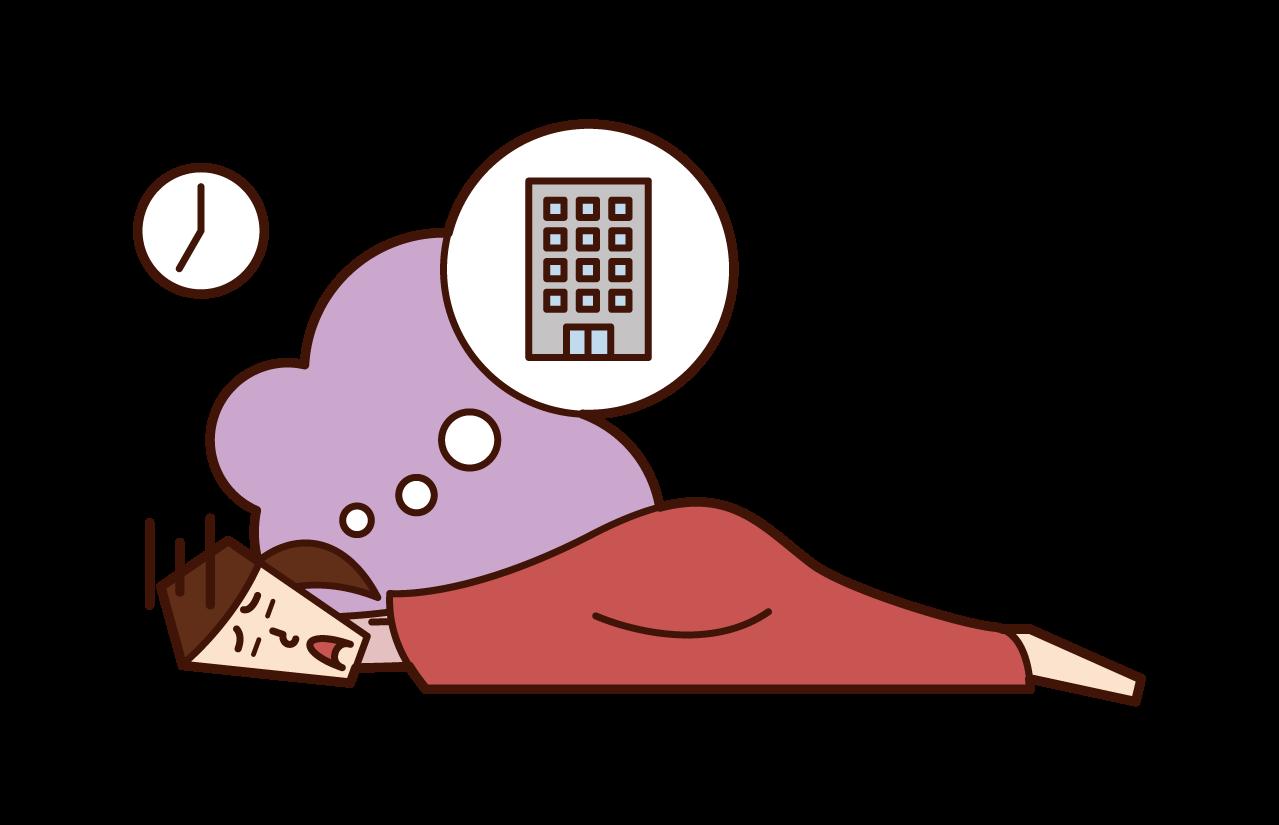 朝が弱い人(女性)のイラスト