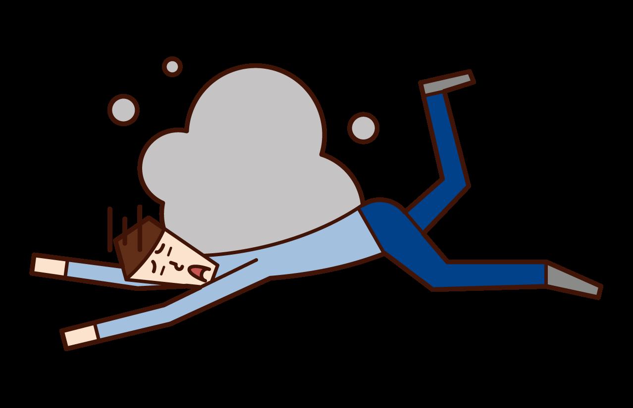 転倒する人(男性)のイラスト