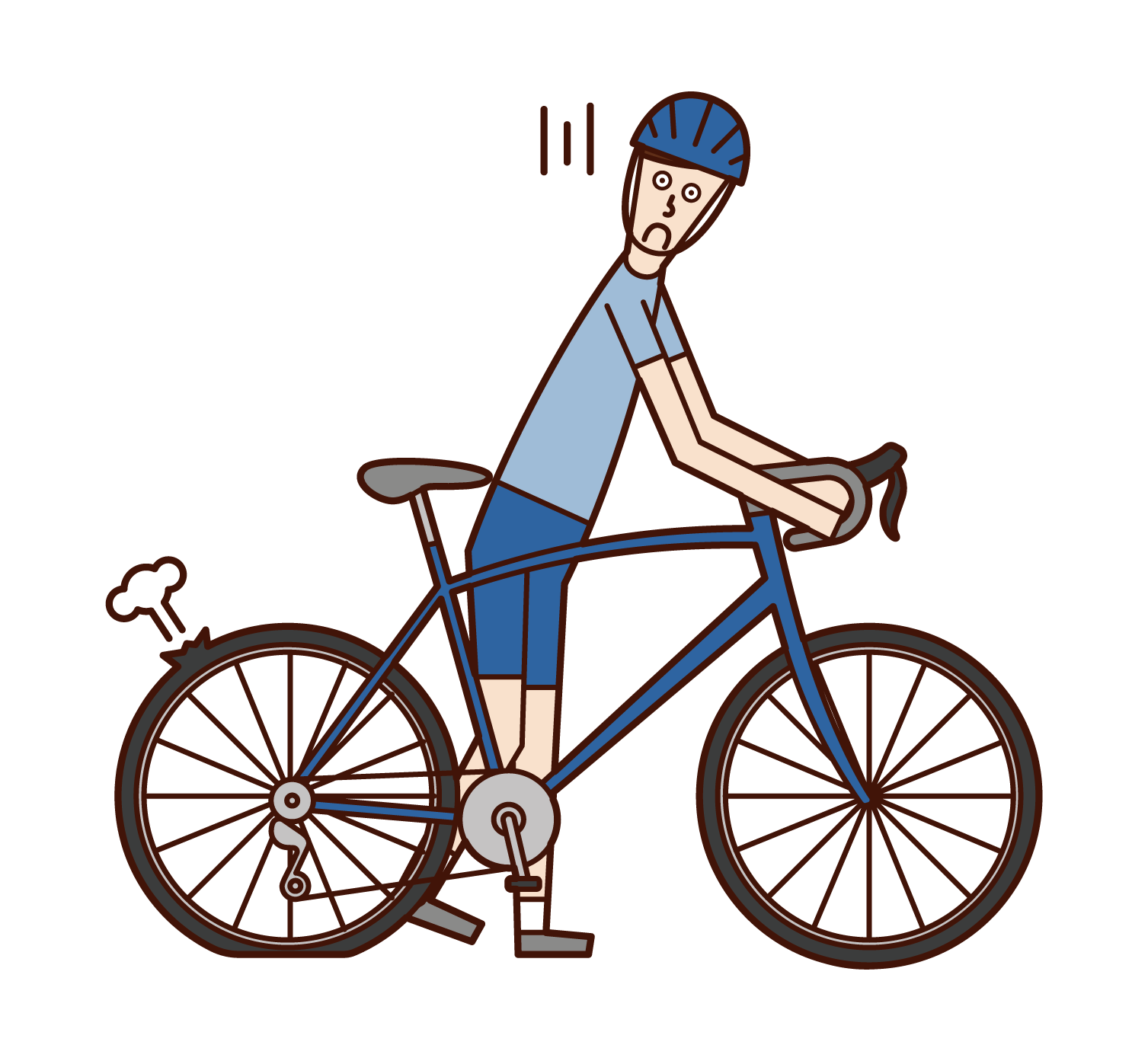 Illustration of a man pushing a flat-hit bicycle
