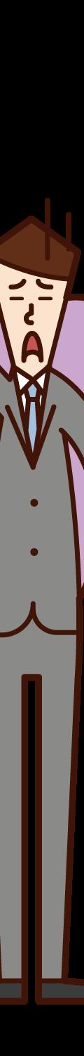 疲れた会社員(男性)のイラスト